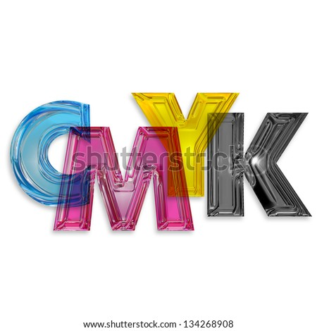transparent letters cmyk isolated on white background - stock photo