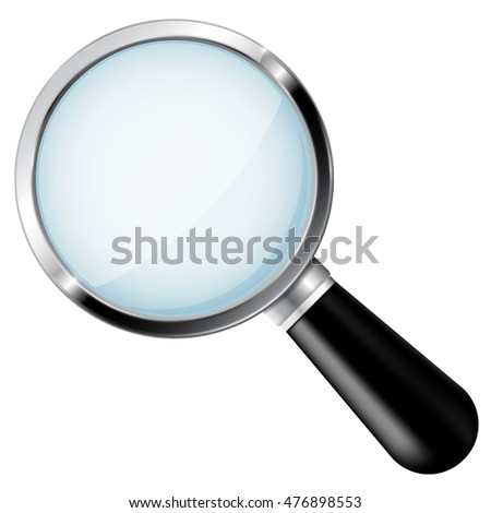 Transparent magnifying glass. 3d illustration isolated on white background. Raster version