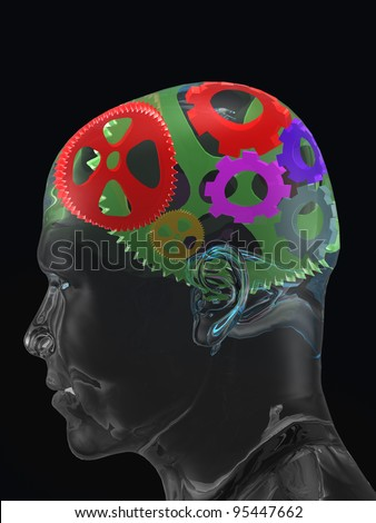 Transparent man's skull with colour curve gears. 3d image