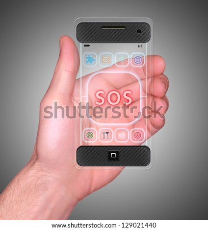 Transparent Mobile Smart Phone in man's Hand showing SOS on screen new Digital Technology concept - stock photo