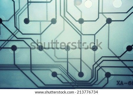 Transparent modern circuit board - stock photo