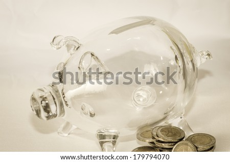 transparent piggy money boy and coins - stock photo