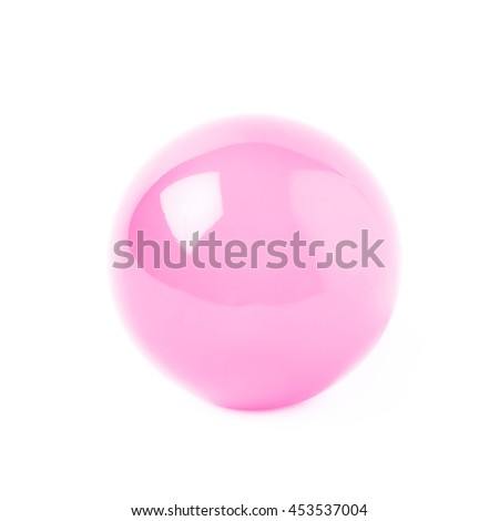 Transparent pink glass ball sphere isolated over the white background - stock photo