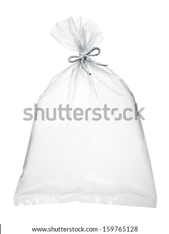 transparent plastic bag full with air isolated on white - stock photo