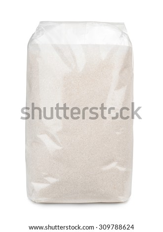 Transparent plastic bag of sugar isolated on white - stock photo