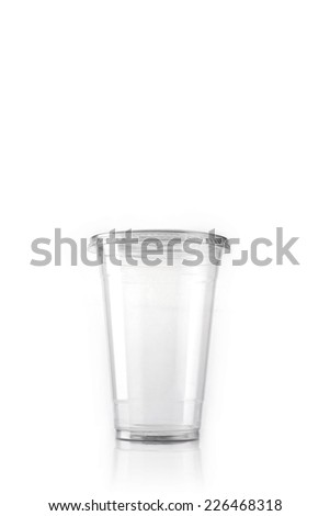 transparent plastic bottle for ice coffee isolated white. - stock photo