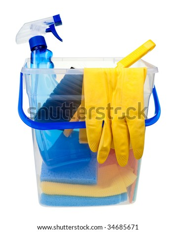 Transparent plastic bucket with cleaning supplies on white background - stock photo
