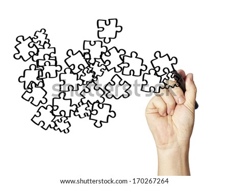 Transparent puzzle, useable on any picture. - stock photo