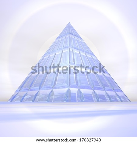 Transparent pyramid made with glass in front of clear sunset - stock photo