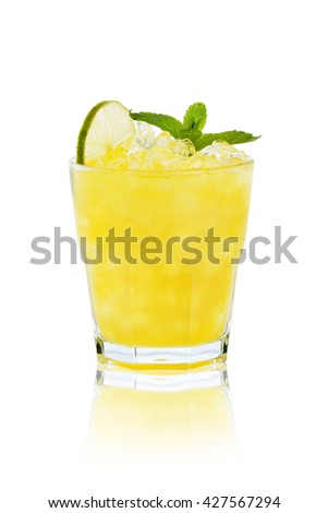 Transparent refreshing cocktail in a glass with lemon and mint - stock photo