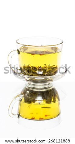 Transparent saucer cup of green tea with reflection - stock photo