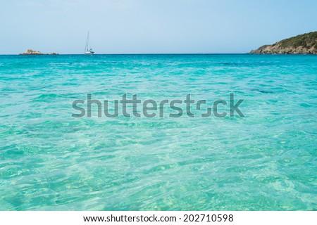 Transparent sea in Tuerredda beach along the coast of Teulada, South Sardinia, Italy - stock photo