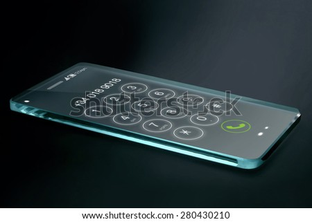 Transparent smartphone with dial number on dark background. The most promising technologies in the mobile market is flexible and transparent displays. - stock photo