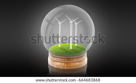 Transparent sphere ball with ecology-friendly windmills inside. 3D rendering.