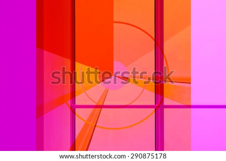Transparent target in energetic colors. Digitally altered photo of patio  doors with projection of an