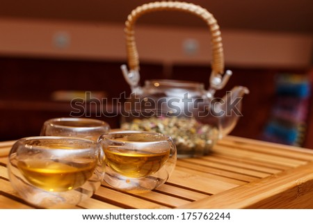 Transparent tea ceremony set on a wooden board