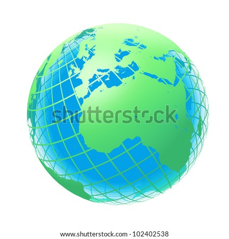 transparent the globe green and blue color. An earth breadboard model. It is isolated on a white background - stock photo