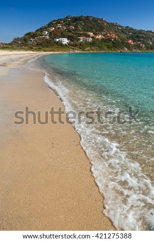 Transparent tranquil water at Torre Della Stelle beach, Sardinia, Italy - stock photo