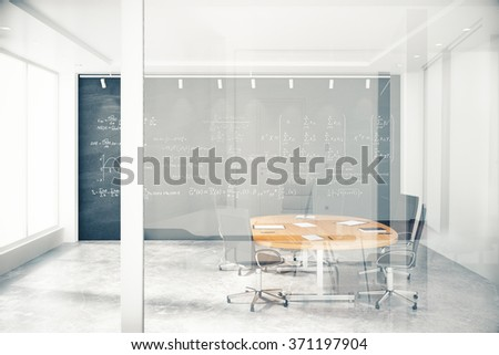 Transparent wall in conference room with furniture and blackbaord with equations 3D Render - stock photo