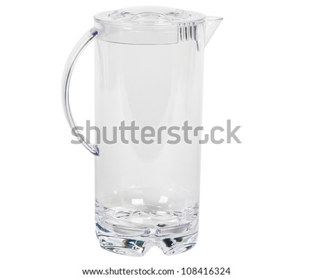 transparent water decanter isolated over white
