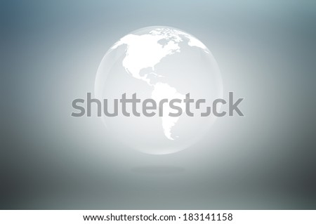 Transparent white globe icon on gray background - stock photo
