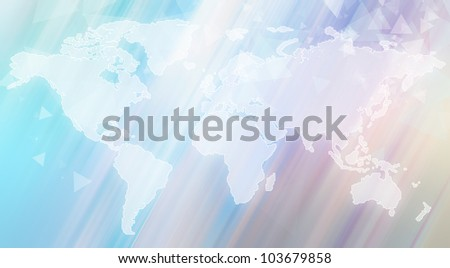 Transparent world map against abstract background - stock photo