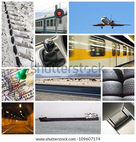 transport collage - stock photo