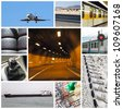 Transport collage or collection with different types of transport: trucks, airplane, car, boat, train - stock photo
