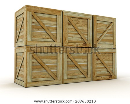 Transport Crates. Wooden Container Boxes. 3D Illustration