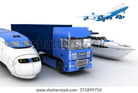 Transport. 3d render illustration - stock photo