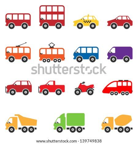 Transport Icon Set. Raster Version - stock photo