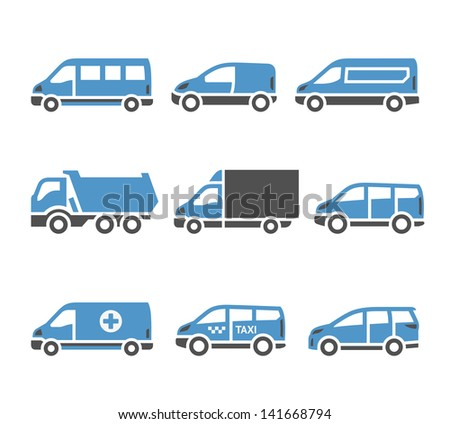 Transport Icons - A set of sixth. Set silhouettes isolated on white background. Bicolor (blue and gray colors). Vector version (eps) also available in gallery - stock photo