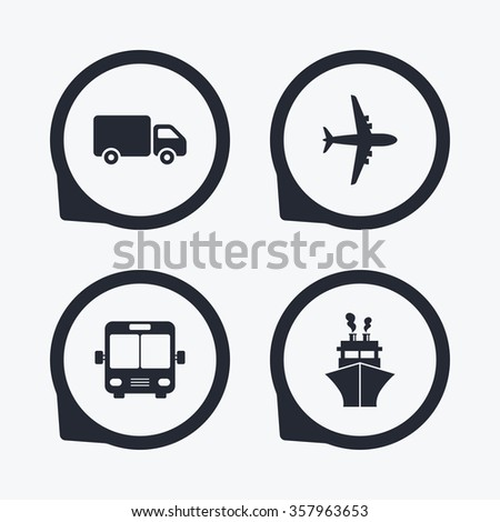 Transport icons. Truck, Airplane, Public bus and Ship signs. Shipping delivery symbol. Air mail delivery sign. Flat icon pointers.
