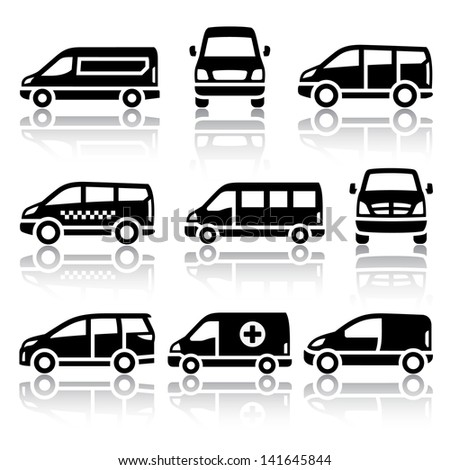 Transport icons - Van, set silhouettes isolated on white background. - stock photo