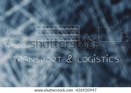 transport & logistics: product passing from factory production line to company's warehouse to shipping truck