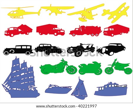 Transport & Travel icons in different colours - stock photo