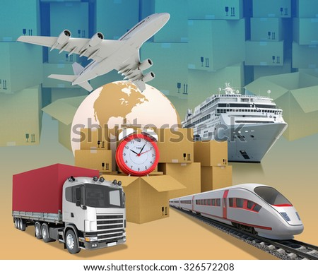 Transport with alarm clock and earth on abstract background with boxes. Elements of this image furnished by NASA