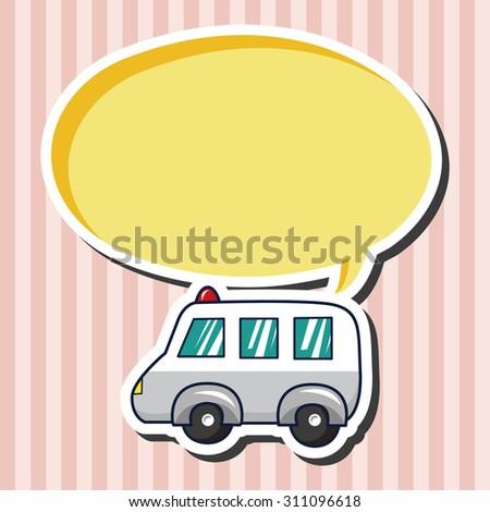 transportation ambulance, cartoon speech icon - stock photo