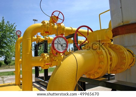 Transportation and measuring of gas and oil through pipes - stock photo