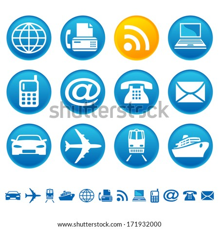 Transportation and telecom icons. Raster version of EPS image 28053952 - stock photo