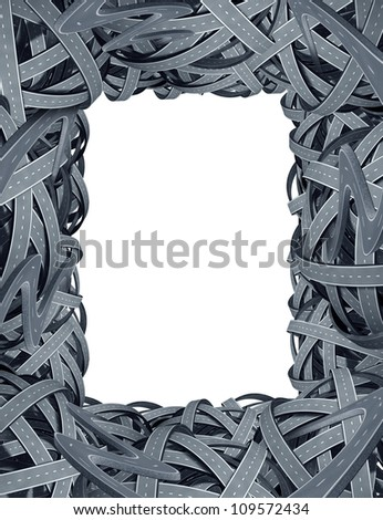 Transportation blank frame and navigation street travel symbol with a network of connected roads and a dimensional tangled confused highways as a concept of directions and GPS assistance. - stock photo