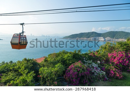 transportation cable car over sea leading to Vinpearl Park, Nha Trang, Vietnam.