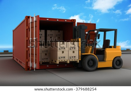 Transportation cargo and forklift (done in 3d) - stock photo