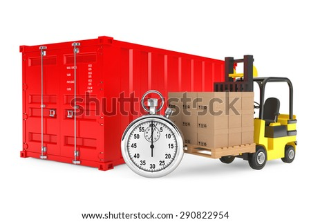 Transportation Concept. Forklift with Cardboard Boxes and Stopwatch near Shipping Container on a white background  - stock photo