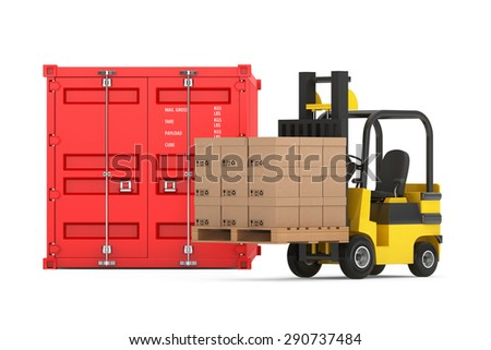 Transportation Concept. Forklift with Cardboard Boxes near Shipping Container on a white background  - stock photo