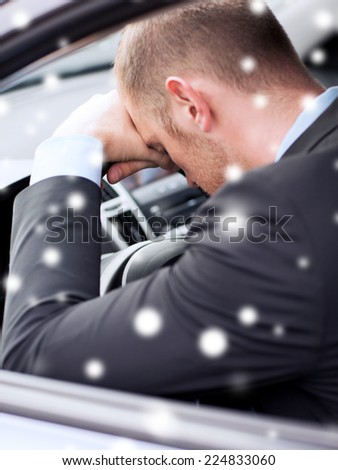 transportation, danger, people and vehicle concept - close up of businessman sitting and sleeping in car