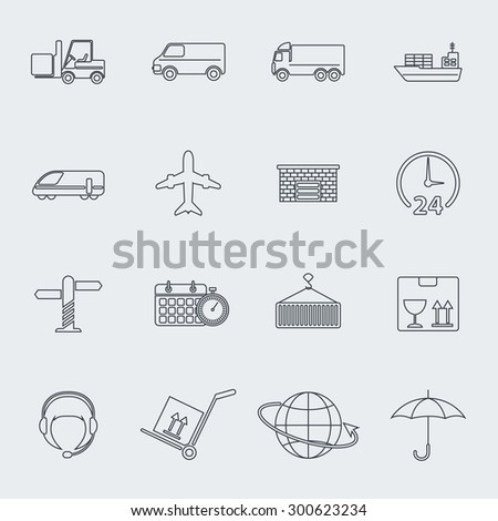 Transportation line icon set. Raster version
