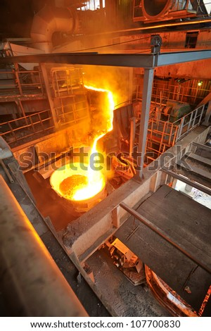 transportation molten hot steel - stock photo