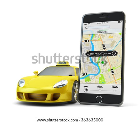 Transportation network app, calling a cab by mobile phone concept, modern smartphone with application for online taxi service order on screen and yellow car with taxi sign isolated on white