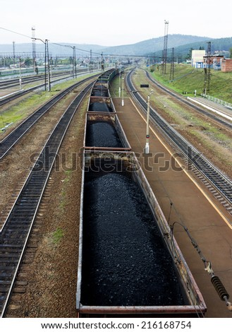 Transportation of coal. Railway. Electric train